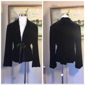 JS Collections Black Velvet Blazer W/Satin Tie